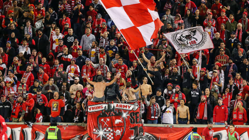 New York Red Bulls supporters - fans - Red Bull Arena - Viking Army