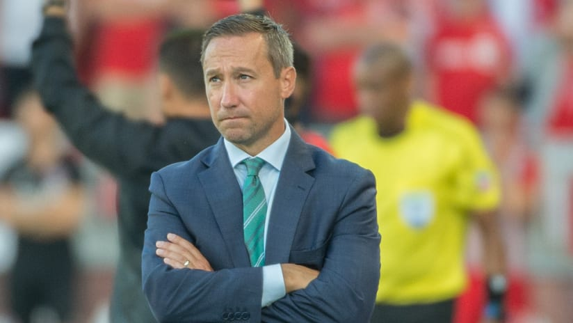 Caleb Porter - Arms crossed, frustrated - Portland Timbers