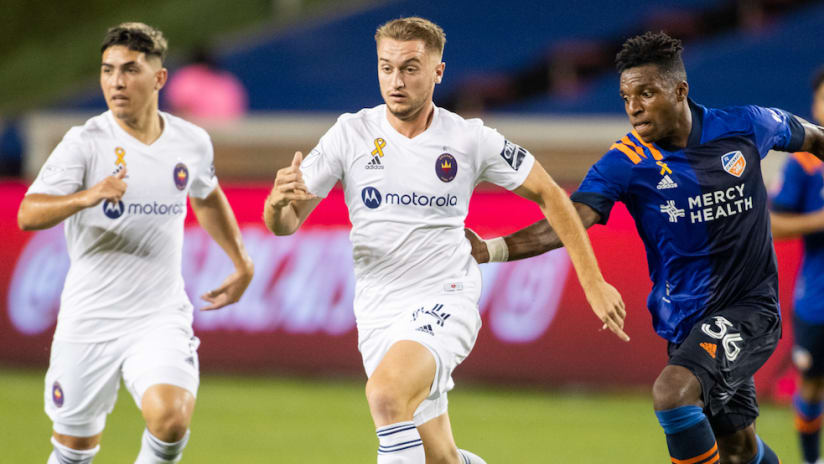 Djordje Mihailovic breaks away from Joe Gyau