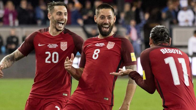 Geoff Cameron - Clint Dempsey - Alejandro Bedoya - celebrate a goal for the US national team vs. Honduras