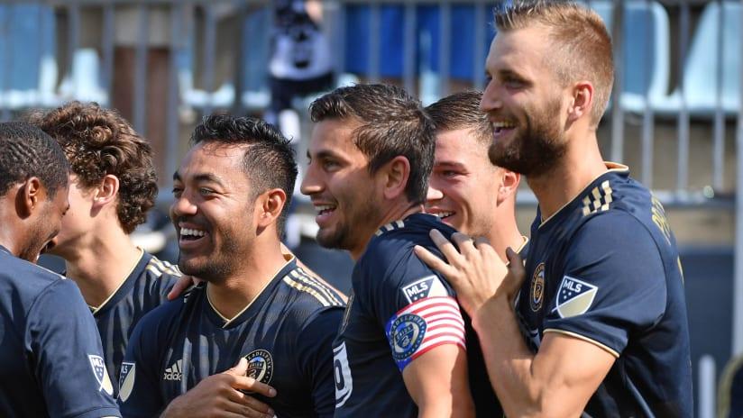 Marco Fabian and the Philadelphia Union celebrate