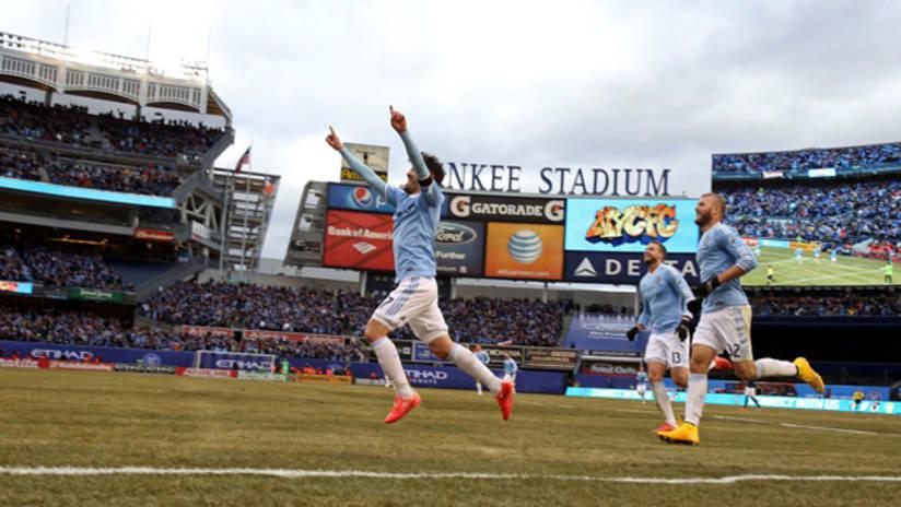 David Villa celebrates the first NYCFC goal at Yankee Stadium