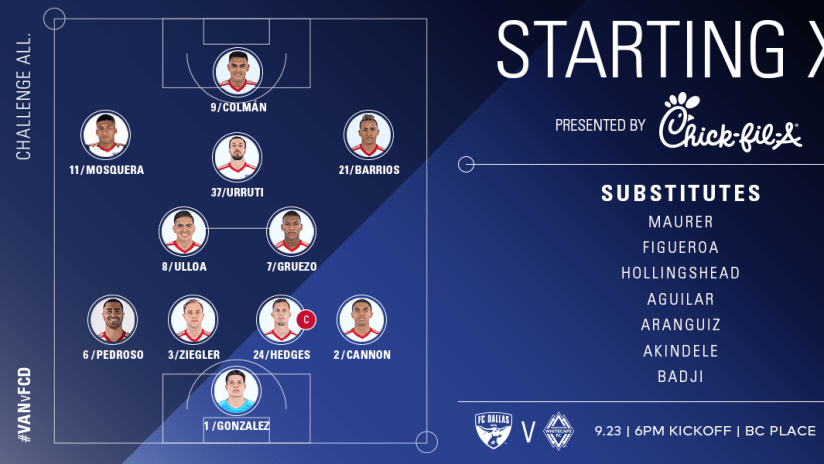 LINEUP NOTES: FC Dallas at Vancouver Whitecaps FC | 9.23.18 -
