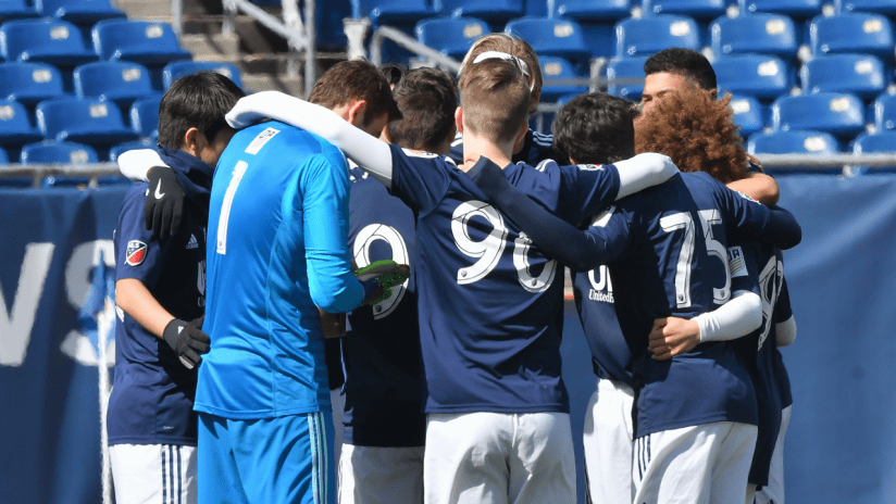 Academy U-17 group huddle 2019