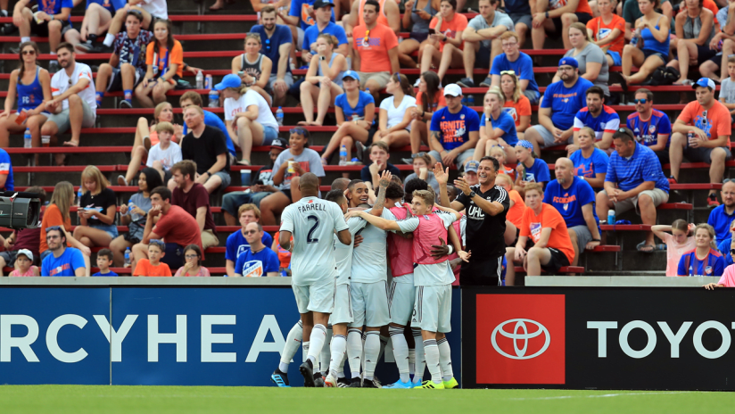 Group goal celebration vs. FC Cincinnati (2019, Colonial)