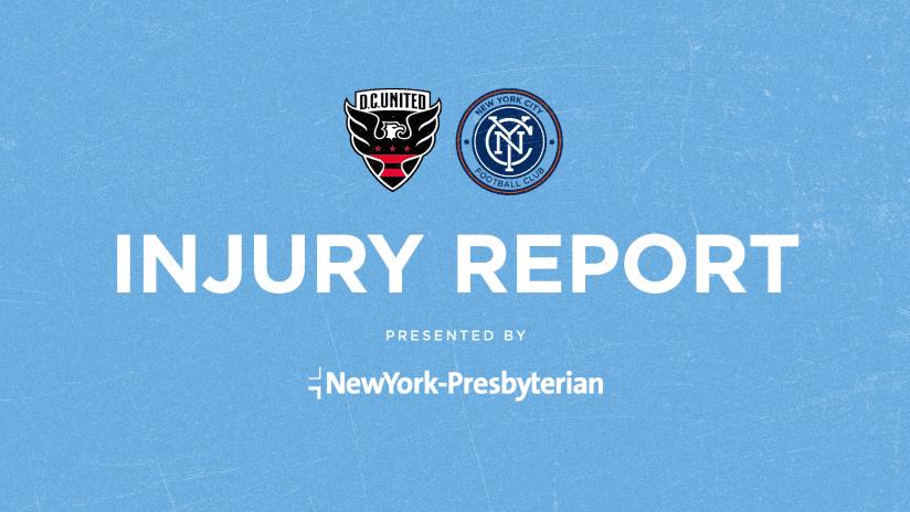 DCUxNYCFC Injury Report