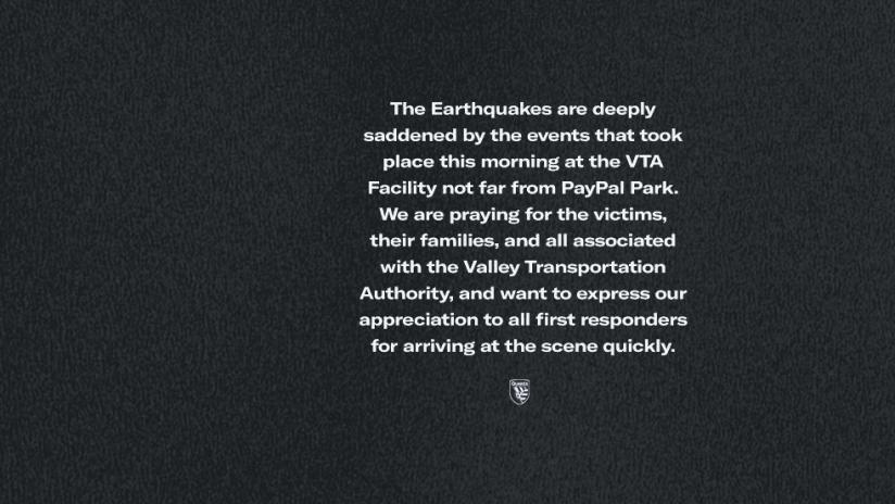 statement - VTA - San Jose Earthquakes - 2021