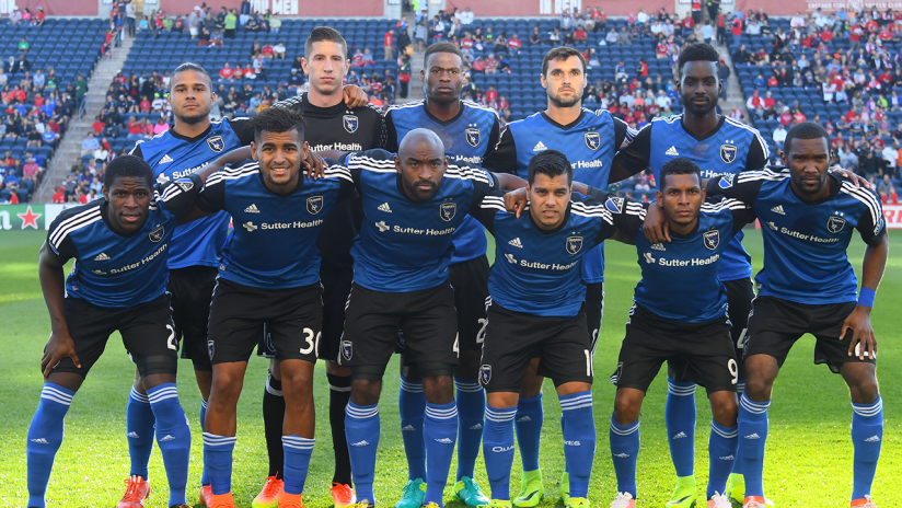 San Jose Earthquakes starting XI - at Chicago Fire 2016