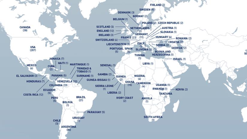 MLS players around the world map - 2019 MLS season