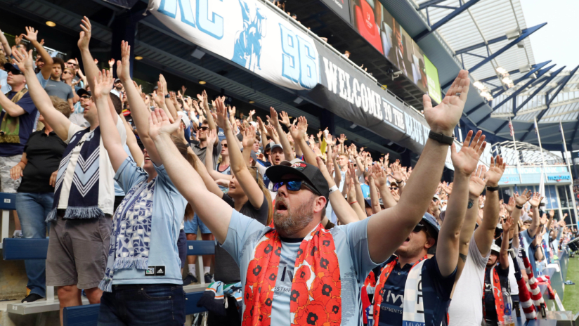 KC Cauldron hands up - Sporting KC - Loudest Supporters Section