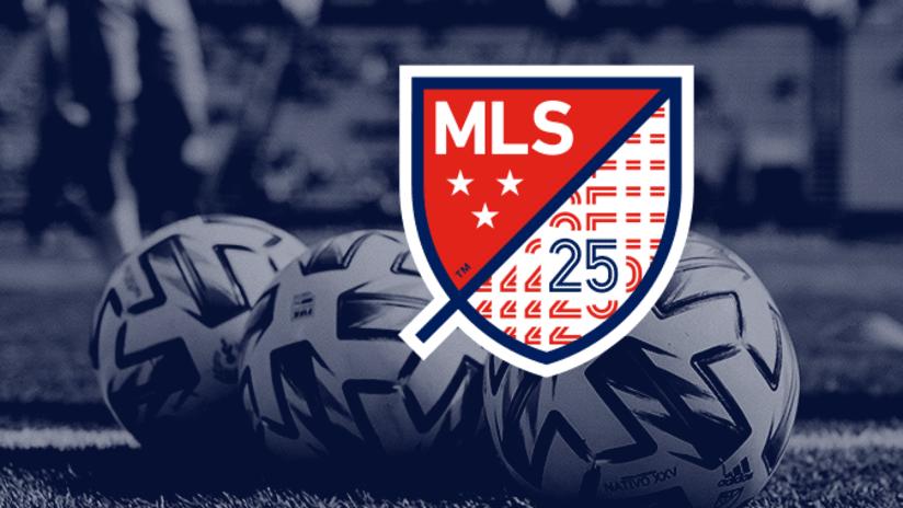 MLS 25th Season Logo with BALLS