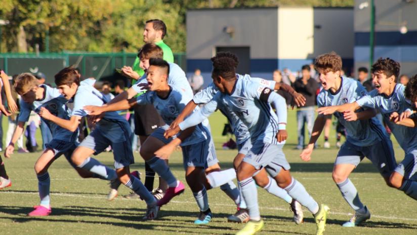 Sporting KC Academy team celebration penalty kicks - October 2019