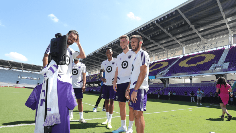 Graham Zusi with REX the Robot at MLS All-Star Game training - July 30, 2019