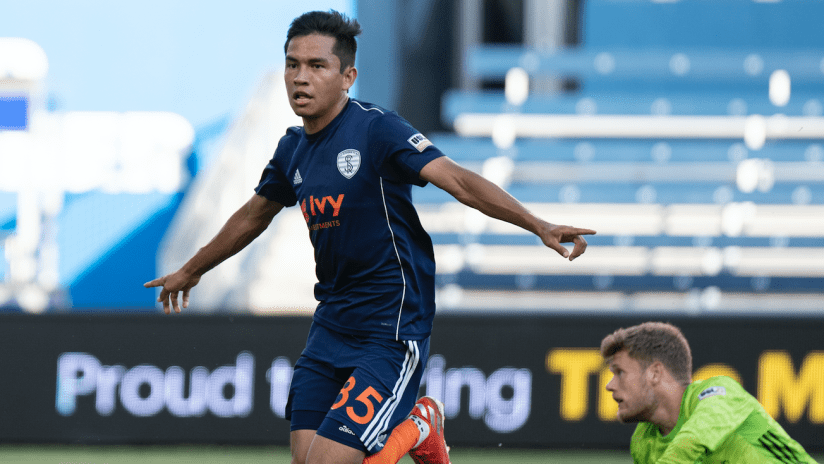 Felipe Hernandez celebration - Swope Park Rangers vs. Hartford Athletic - July 17, 2019