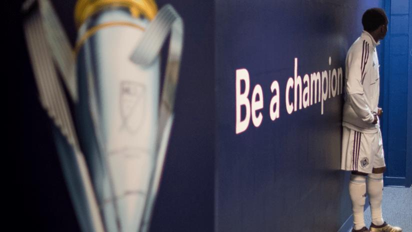 MLS Cup - logo - locker room - be a champion - alphonso