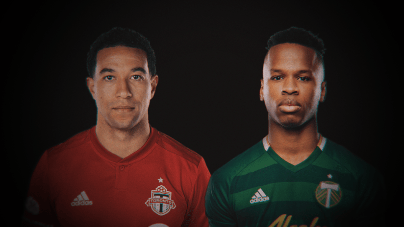 Justin Morrow and Jeremy Ebobisse - portrait against black background - use only for special posts
