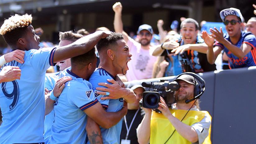 New York City FC - Team congratulates Alexander Callens after goal