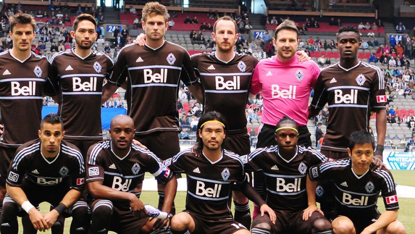 "Vancouver Whitecaps - 2013 starting XI - in ""arbutus brown"" third kits"