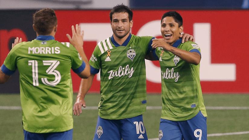 Jordan Morris, Nicolas Lodeiro, Raul Ruidiaz - Seattle Sounders - Celebrate