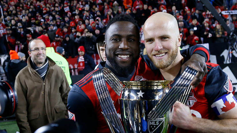 Bradley and Altidore - MLS Cup - 2017 - with MLS Cup trophy