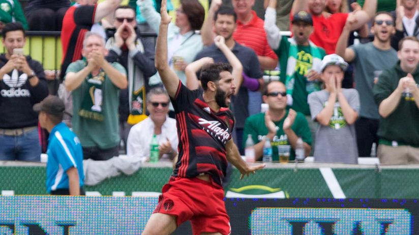 Diego Valeri - Portland Timbers - celebrating goal vs. Sporting KC