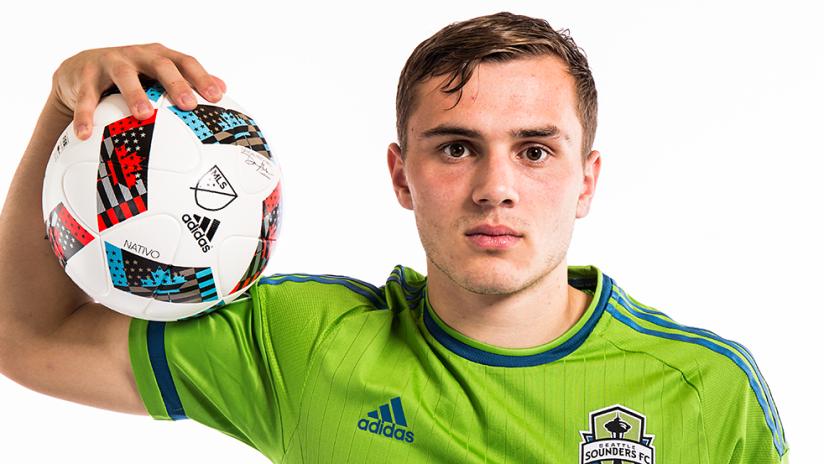 Jordan Morris - Seattle Sounders - January 2015 - facing camera with soccer ball
