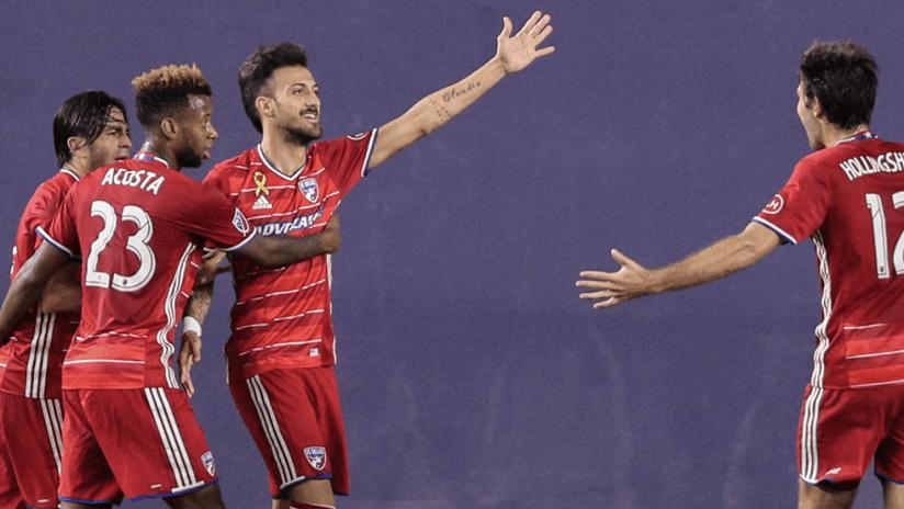 FC Dallas - celebrating a goal vs. NYCFC