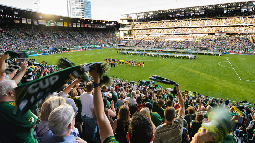 Expanded Providence Park - Portland Timbers - wide shot of 2019 home opener