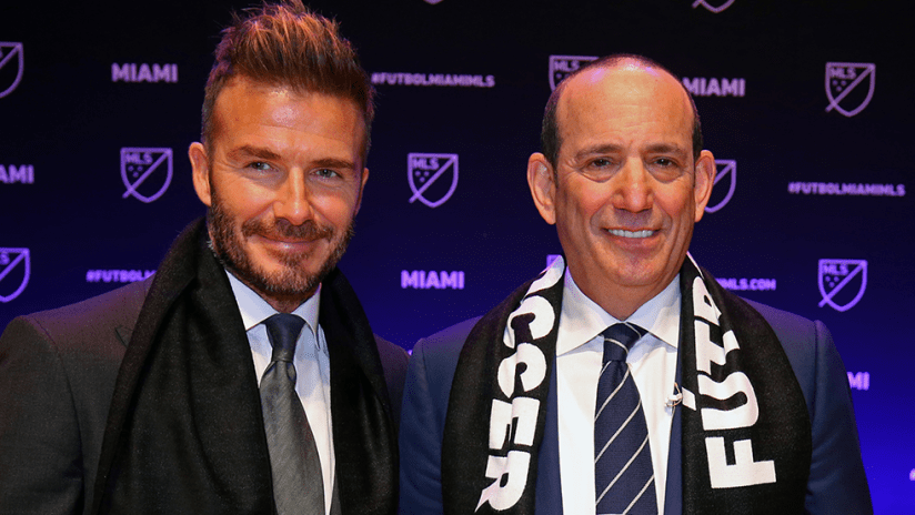 David Beckham - Don Garber - Miami Expansion Announcement - Pose together