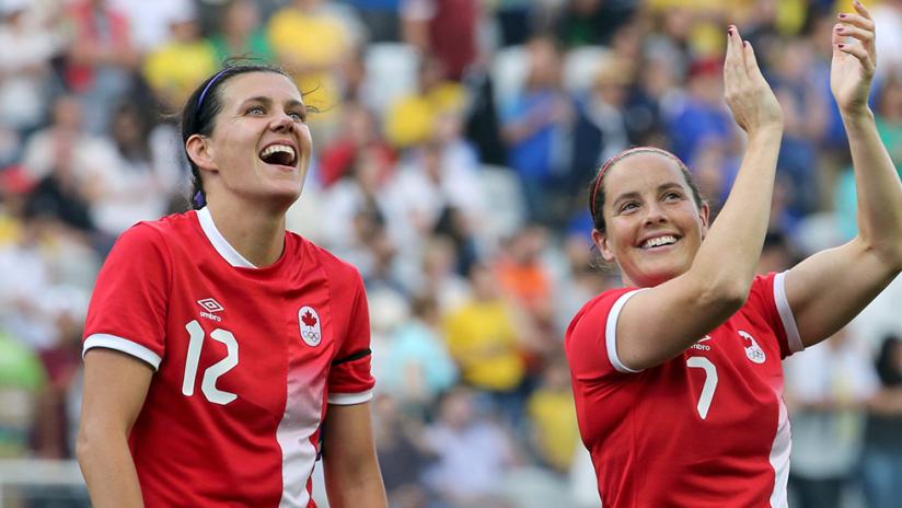 Christine Sinclair, Rhian Wilkinson - Canada women's national team (CANWNT) - smiles