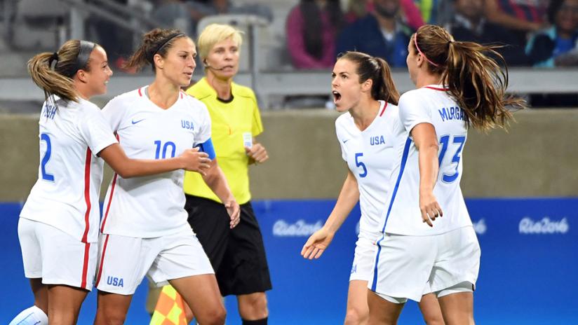 US women's national team - USWNT celebration - vs New Zealand, 2016 Olympics