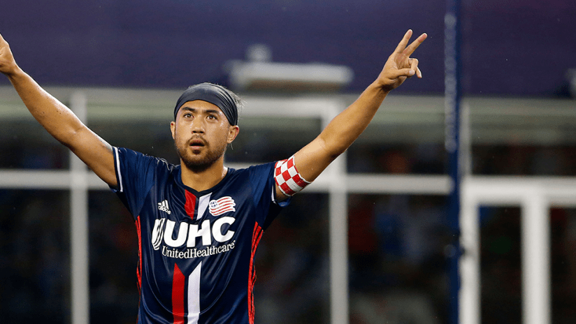 Lee Nguyen - New England Revolution - Peace signs to the crowd