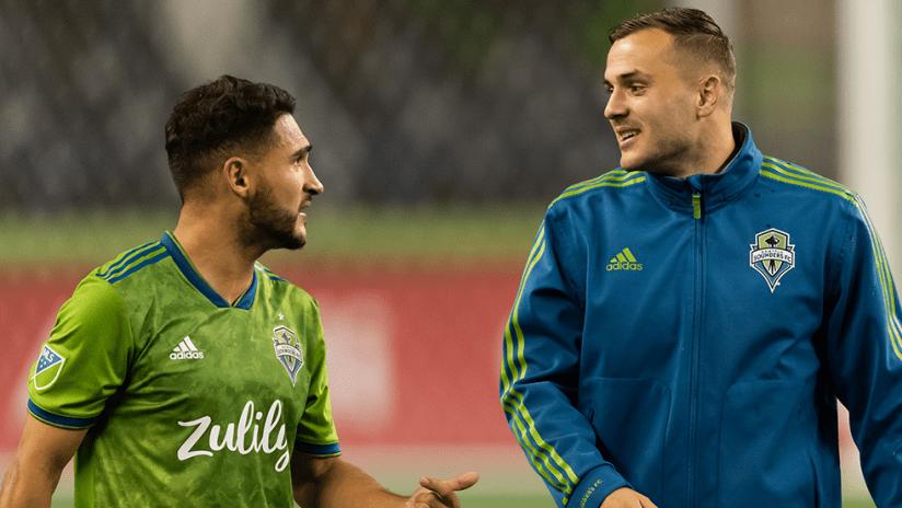 Cristian Roldan, Jordan Morris - Seattle Sounders - smiles