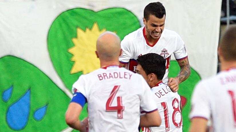 Sebastian Giovinco - Toronto FC - celebrates a goal vs. Union
