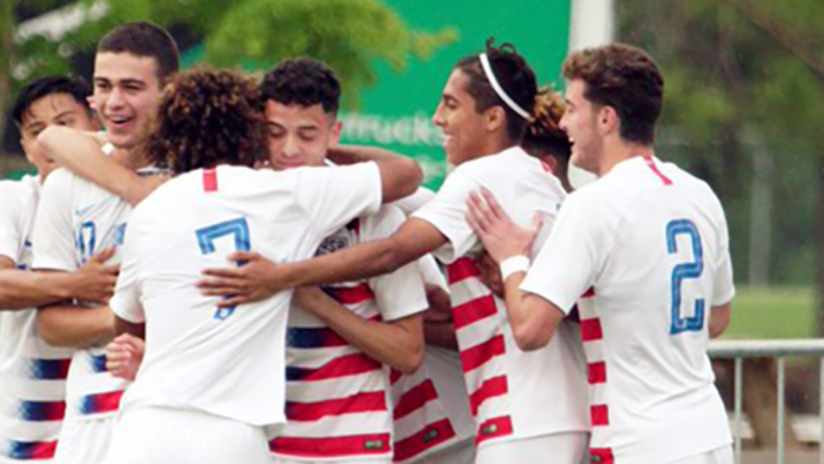 US Under-17 national team celebrates a goal vs. Guadeloupe - May 9, 2019