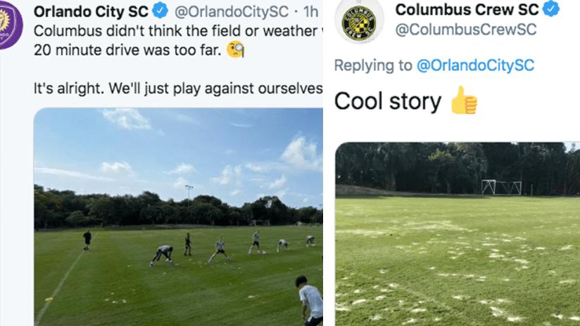 Columbus Crew and Orlando city tweets - February 1, 2020