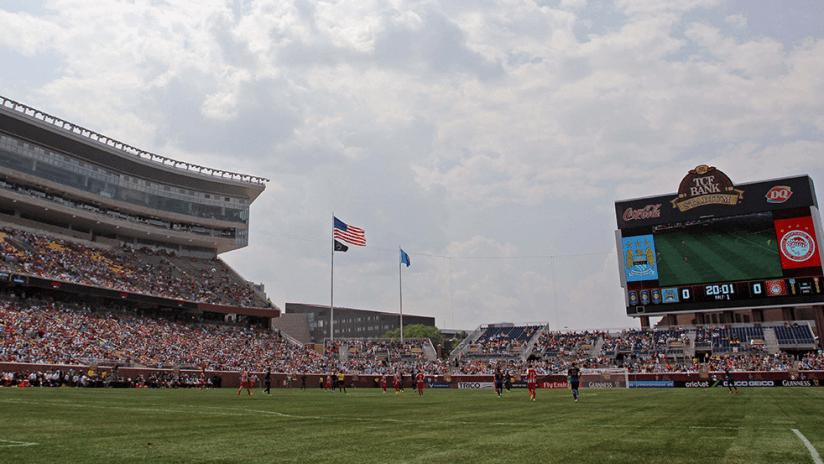 TCF Bank Stadium - soccer match - Manchester City vs. Olympiacos, 2014