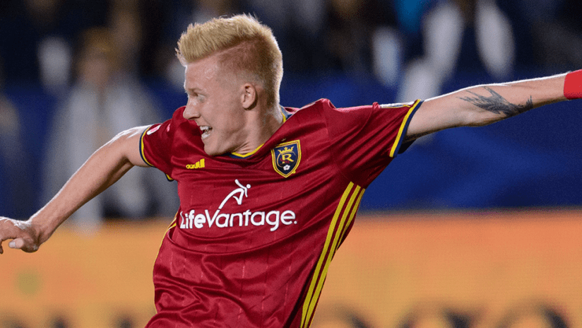 Justen Glad - Real Salt Lake - Lunges for the ball