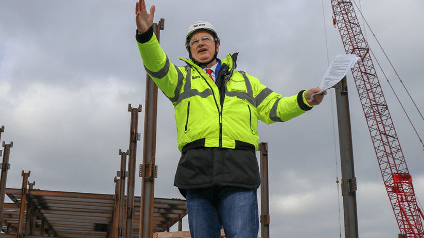 Jeff Berding - FC Cincinnati - leading tour of new West End stadium construction