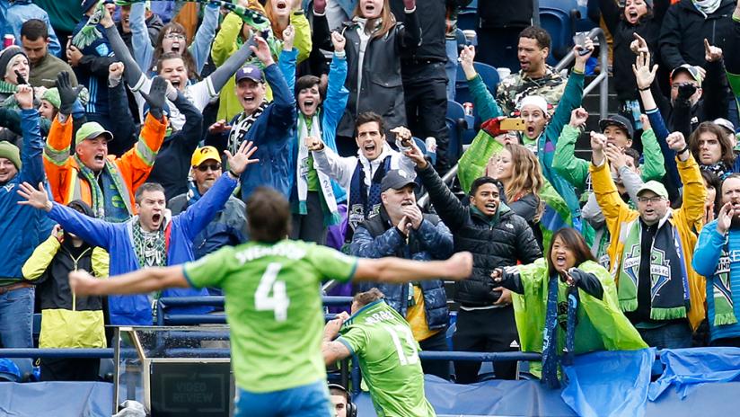 Seattle Sounders fans - celebrate Jordan Morris goal
