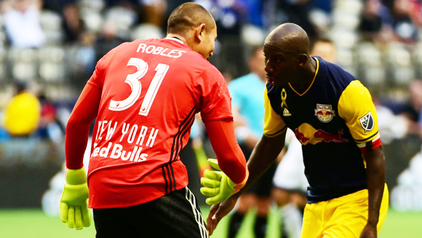 Luis Robles, Bradley Wright-Phillips - New York Red Bulls - low five