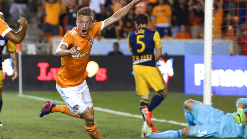 Dylan Remick - Houston Dynamo - celebrates his headed goal at home