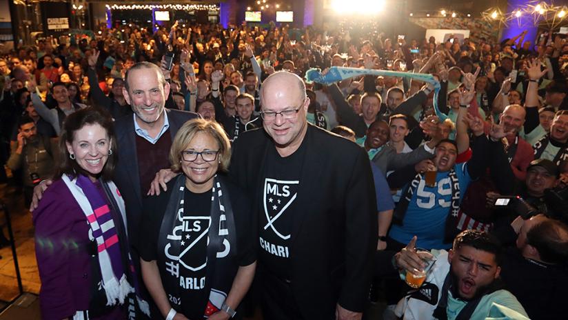 Charlotte - 2019 - announcement - fan fest - Commish Tepper Mayor Fans