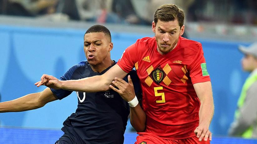 Kylian Mbappe, Jan Vertonghen - France vs. Belgium, World Cup 2018