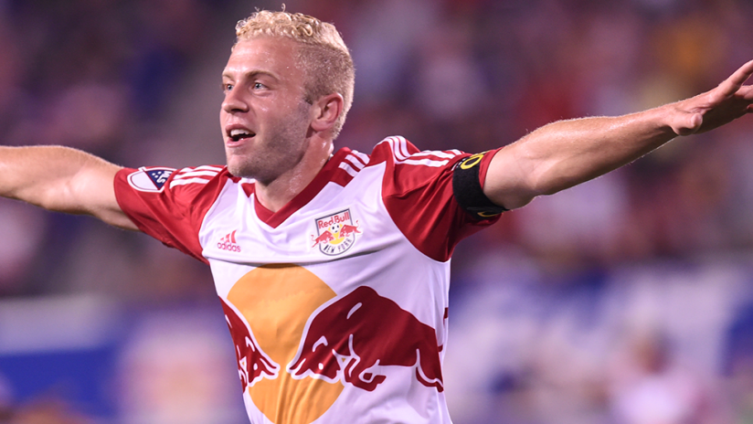 Mike Grella - New York Red Bulls - celebrating a goal solo