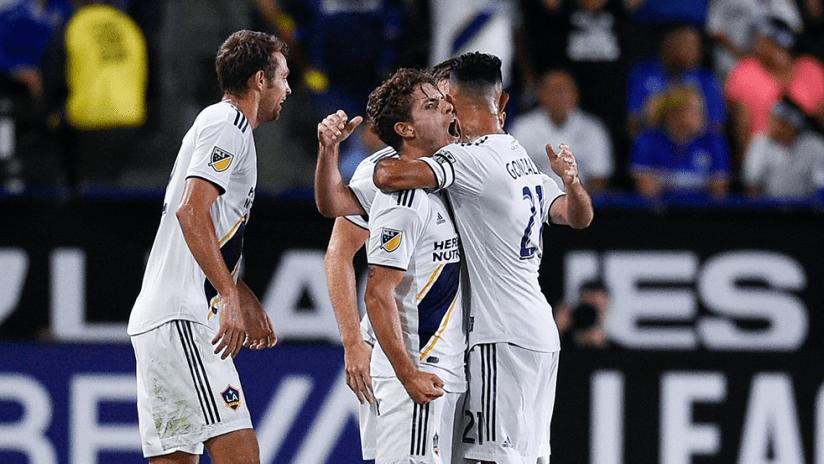 Emil Cuello - LA Galaxy - celebrating first goal