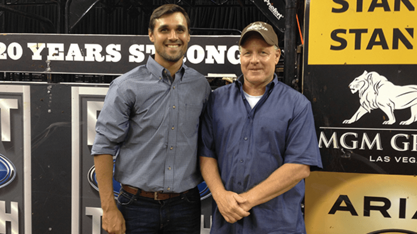 EMBED ONLY - Chris Wondolowski with his father John at bullriding event