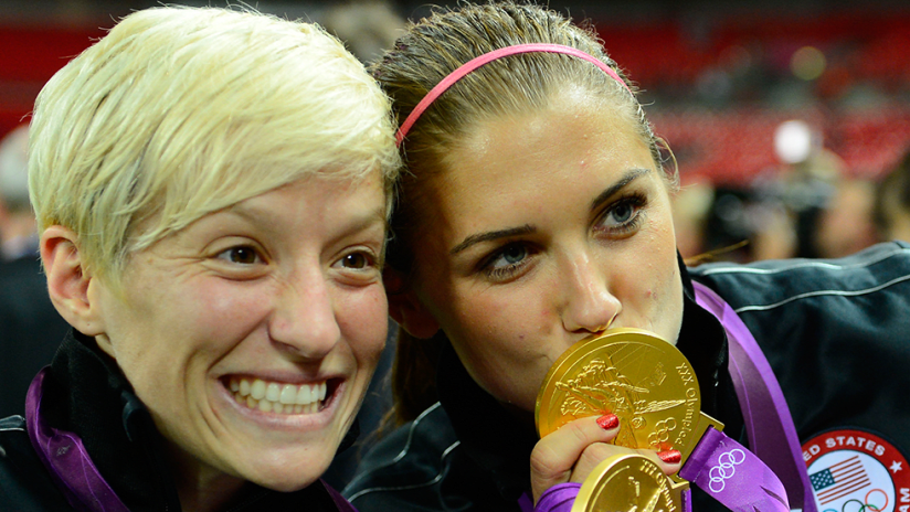 Megan Rapinoe, Alex Morgan - US women's national team - with Olympic gold medals