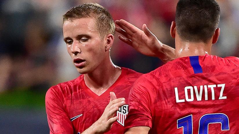 Jackson Yueill, Daniel Lovitz - US national team - vs. Uruguay