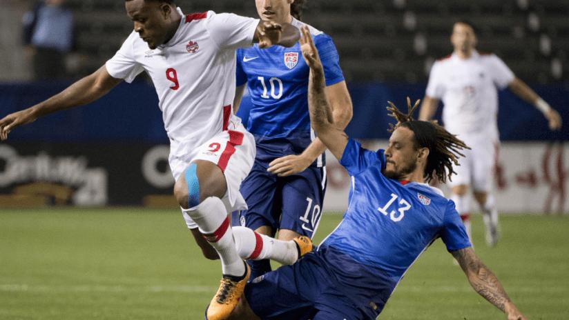 Jermaine Jones tackles Cyle Larin - USA vs. Canada - 2/5/2016